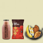 Gymvitals Weight Gain Shake + 10g Protein Chips + 2 Brown Bread with Peanut Butter Spread + 1 banana + 2 Boiled Eggs