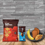 Protein Chips 10g + 10g Protein Bar + 2 Toasted Brown Bread with Peanut Butter Spread + 1 Banana