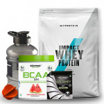 Myprotein Impact Whey Protein 2.5 Kg + Six Pack Nutrition BCAA, 30 Serving + Free Protein Sachet & Gallon Bottle