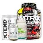 MuscleTech Nitrotech 4Lbs + Xtend BCAA + Myprotein Fish Oil + Universal Nutrition Daily Formula