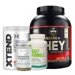 Optimum Nutrition ON Gold 100% Whey Protein 5Lbs + Xtend BCAA + Myprotein Fish Oil + Universal Nutrition Daily Formula