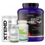 Ultimate Nutrition 100% Whey Protein Prostar, 80 Servings + Xtend BCAA + Myprotein Fish Oil + Universal Nutrition Daily Formula