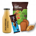 Gymvitals Special Banana Shake + 10g Protein Bar + 10g Protein Chips + 2 Brown Bread with Peanut Butter Spread