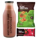 Gymvitals Whey Protein Shake + 30g Protein bar + 10g Protein Chips